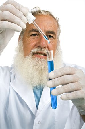 Mature scientist in laboratory holiding pipette and test tube with blue liquid isolated on white Stock Photo - 3378166