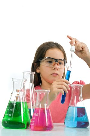 young girl examining a test tube in a science class Stock Photo - 3378163