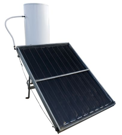solar energy water heater isolated on white photo
