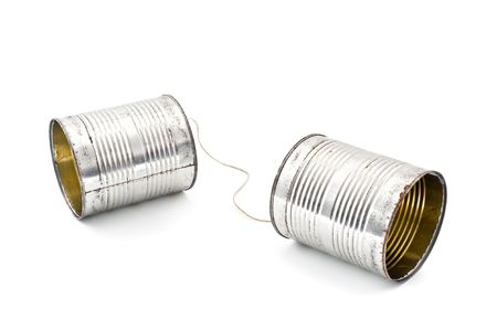 two tins connected together by string to make phone Stock Photo - 3472645