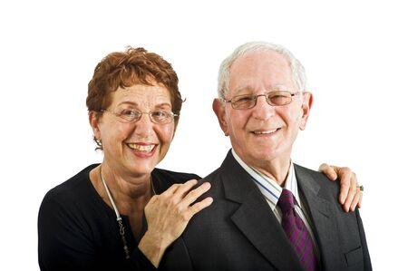 closeup senior couple smiling isolated on white Stock Photo - 3527761