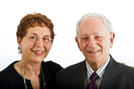 closeup senior couple smiling isolated on white Stock Photo