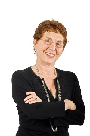 closeup  portrait off a senior businesswoman isolated on white Stock Photo - 3527778