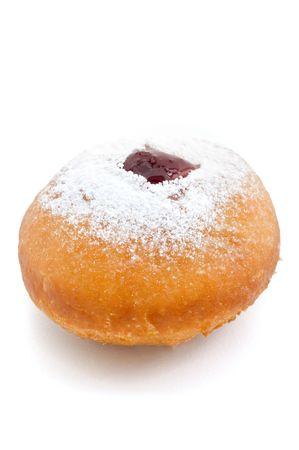 hanukkah doughnut with jam and pouderd sugar photo