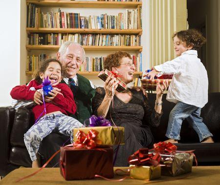 grandparents grandchildren and presents Stock Photo