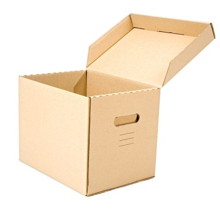 open cardboard box isolated on white Stock Photo - 3785142