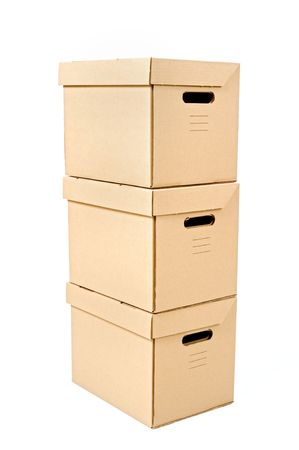 three cardboard box isolated on white Stock Photo - 3785145