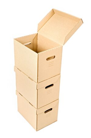 one open cardboard box on two others isolated on white Stock Photo - 3785143