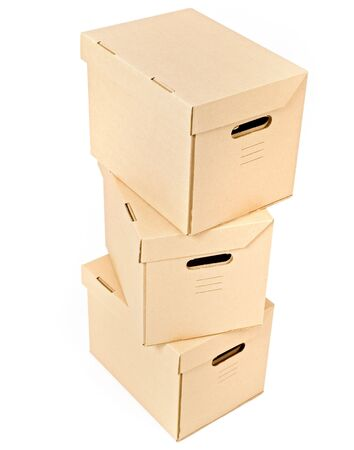 pile of three cardboard boxes isolated on white Stock Photo - 3785141