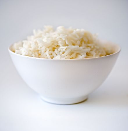 rice bowl in shallow depth of field  on white