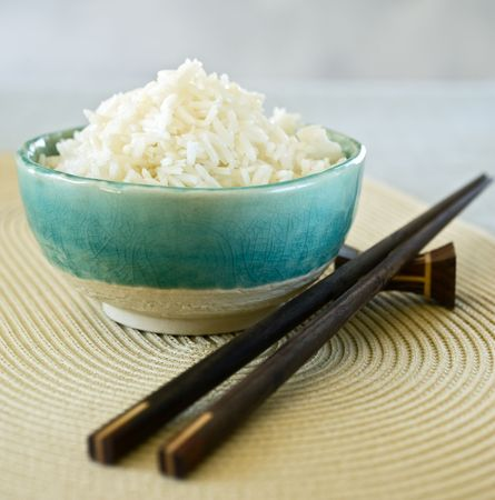 ceramic bowl with plain white rice