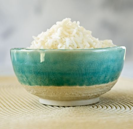 plain rice in a blue ceramic bowl  Stock Photo