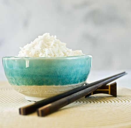 ceramic bowl with plain white rice