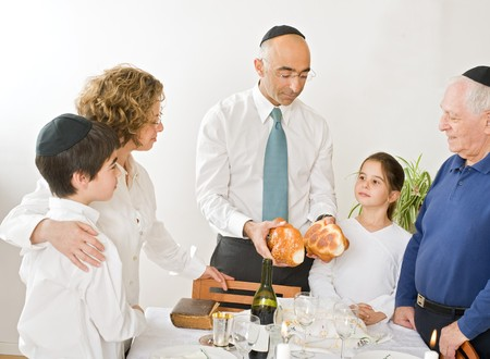 jewish home: friday evening Jewish family celebration Stock Photo