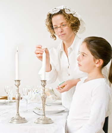 mother and daughter with shabbat candels
