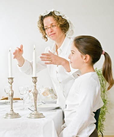 mother and daughter with shabbat candels Stock Photo - 4037880