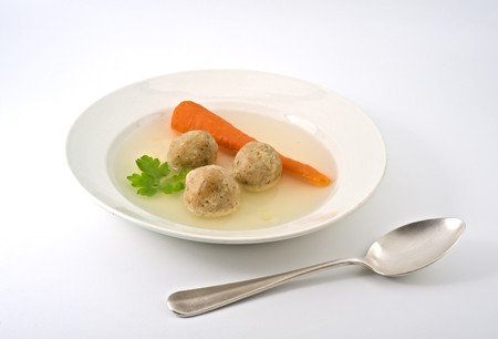 traditional passover matzo ball soup with spone and matza. Stock Photo - 4341928