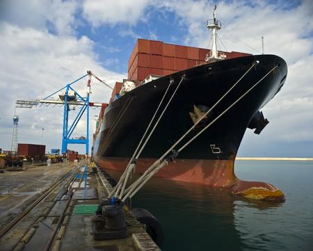 cargo ship at dock  photo