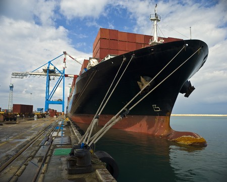 cargo ship at dock Stock Photo - 4397751