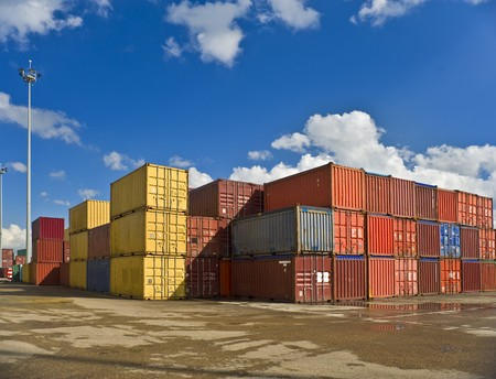 container port: bulk of containers in a dockyard