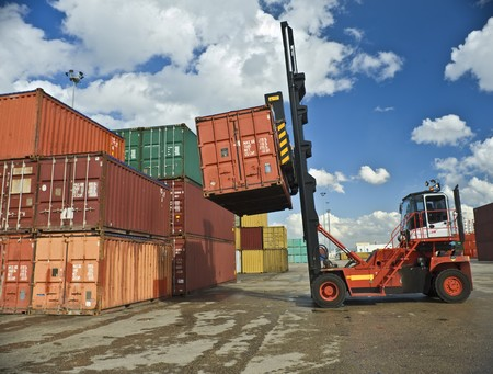 containers forklift at work Stock Photo