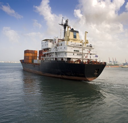 cargo ship leaving the harbor Stock Photo - 4547938