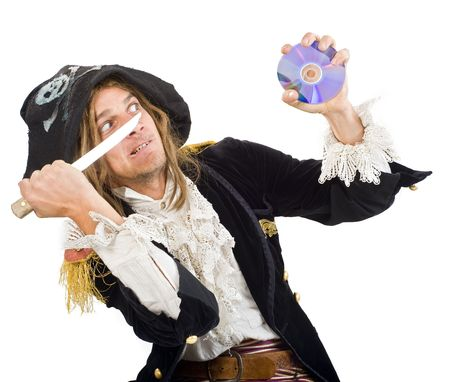 pirate aiming a knife at CD photo