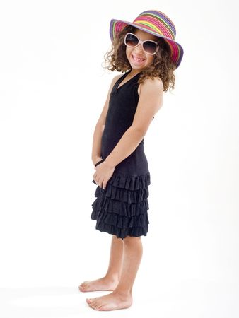 young girl with hat and sunglasses isolated on white Stock Photo
