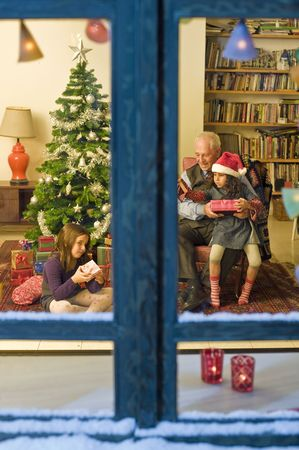 grandfather and granddaughter in Christmes celebration from a snowy window.