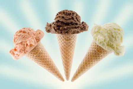chocolate ice cream scoop on cone isolated on white