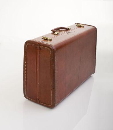 retro old vintage suitcase isolated on white Stock Photo