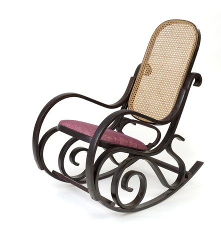 'rocking chair': an old rocking  chair isolated on white Stock Photo
