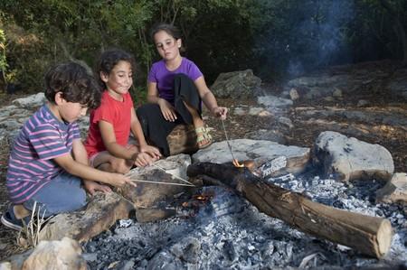 three kids in a campfire in a mediterranean forest Standard-Bild