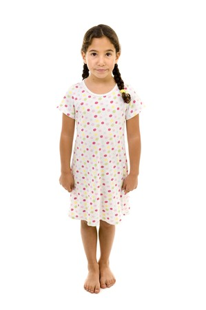 little girl wearing a nightgown isolated on white Stock Photo