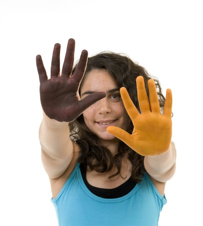 girl with brown and okra paint on hands isolated on white Stock Photo - 7666650