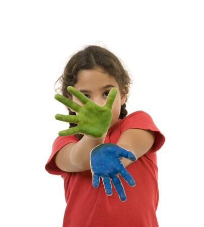 girl with green and blue paint on hands isolated on white Stock Photo - 7666638