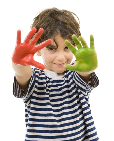 young boy with hands painted in red and green Stock Photo - 7666666