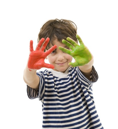 young boy with hands painted in red and green Stock Photo - 7666639