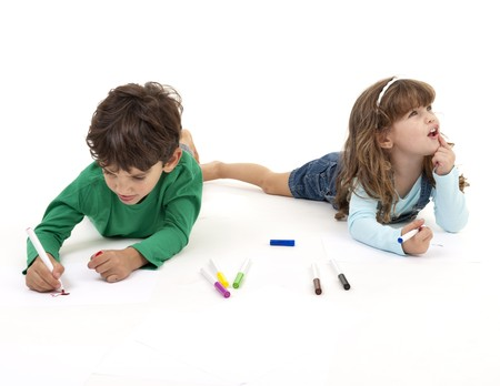 young boy and girl painting and thinking on a drawing cocept isolated Stock Photo - 7955557
