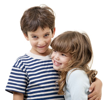 little boy and girl hugging isolated on white Stock Photo