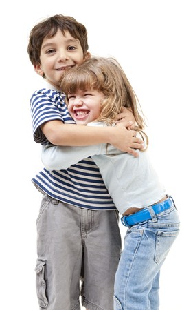 play boy: little boy and girl hugging isolated on white Stock Photo