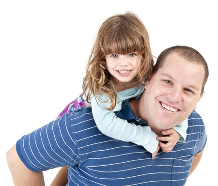 father and daughter piggyback isolated on white