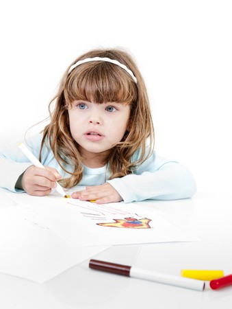 little girl drawing isolated on white Stock Photo - 8029886