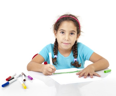 little girl drawing isolated on white