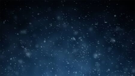 Falling Snow On The Blue Background. Falling shining snow or snowflakes on blue background for Happy New Year.