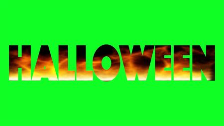 word Halloween created with flaming letters on green screen background