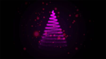 Christmas card with Magic Tree lilac color.Christmas tree from light for your business website. Gold tree as symbol of Happy New Year, Merry Christmas holiday celebration.
