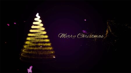 Christmas card with Magic Tree gold color. Christmas tree from light for your business website.Gold tree as symbol of Happy New Year, Merry Christmas holiday celebration. Фото со стока