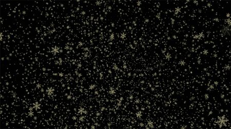 Abstract snowy background with snowflakes, Stardust gold bokeh on black background with flare effect.