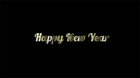 Happy New Year - Black Background celebration greeting banner, Abstract typography poster.